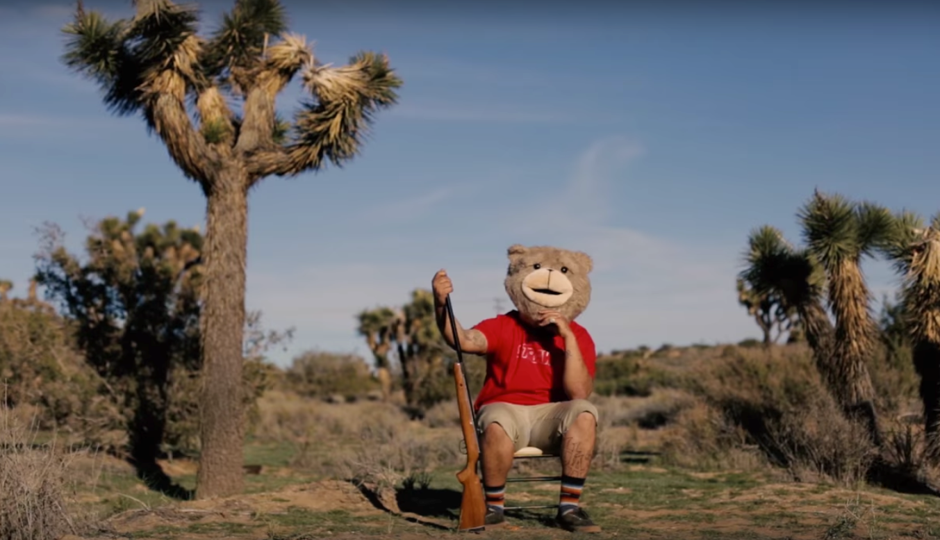"Wordsmith Vinny Virgo takes a trip to a California desert with a teddy bear, a mistress & a gorilla who all may or may not be real in visual ""Alexus"""