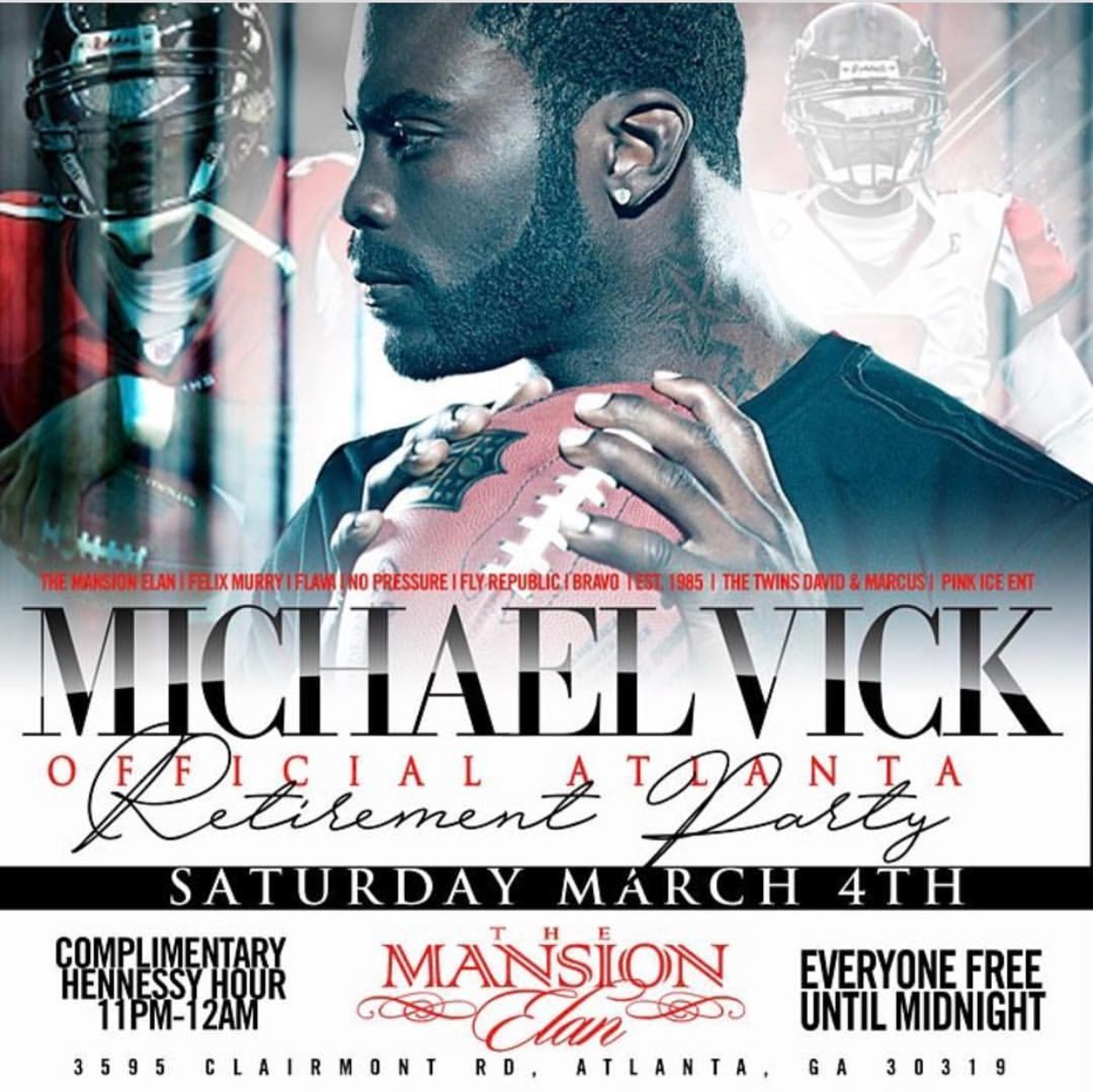 (March 4th) Michael Vick Atlanta Retirement Party at Mansion Elan – ATL, GA