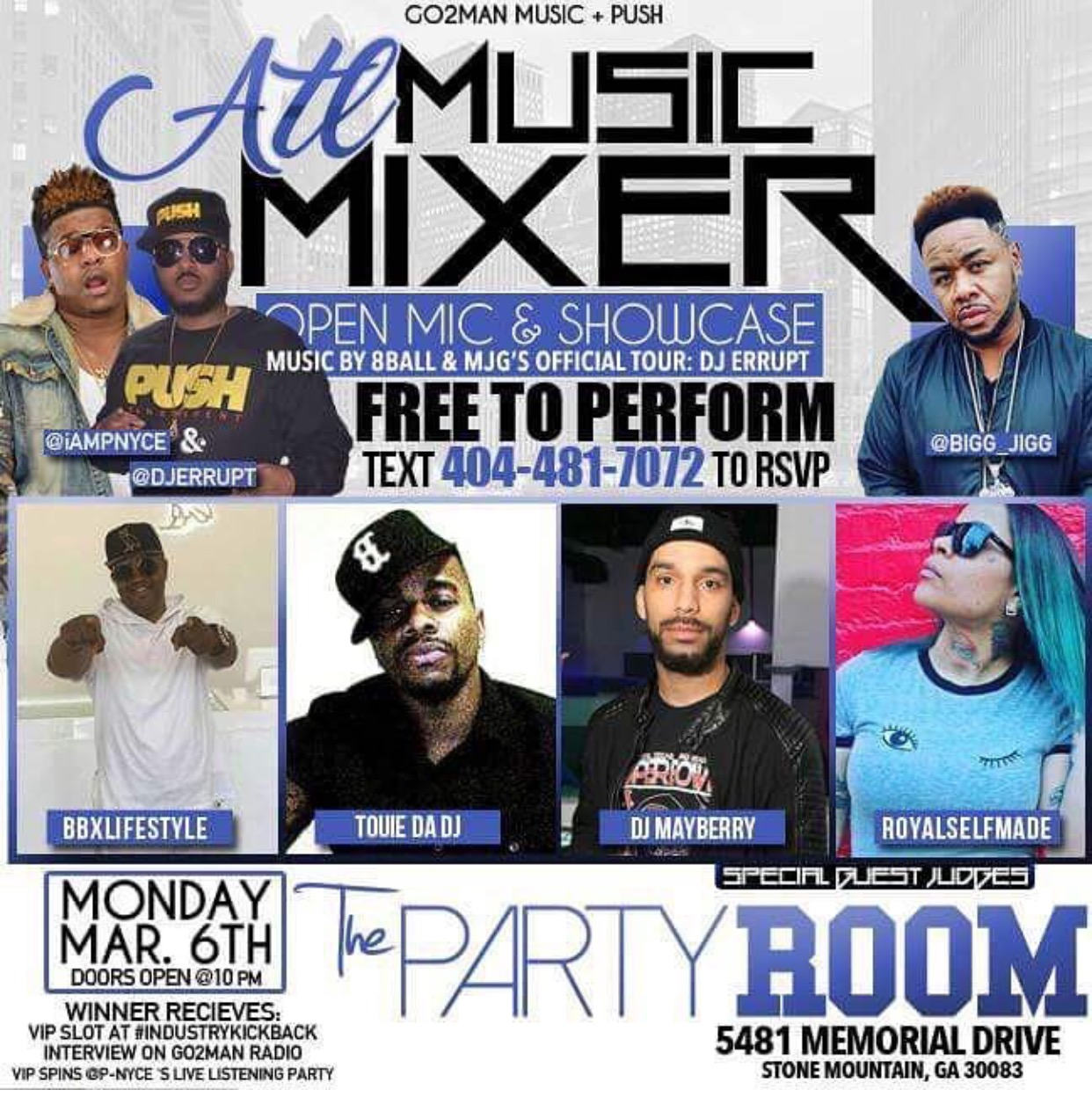 (March 7th )ATL Music Mixer at The Party Room in Atlanta,GA