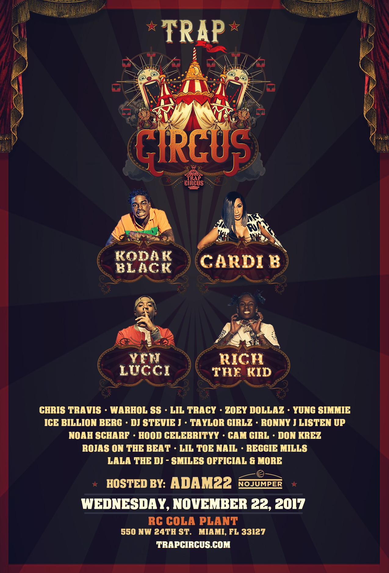 Cardi B, Kodak Black, YFN Lucci & Rich The Kid Headline The 1st Annual Trap Circus Festival In Miami!