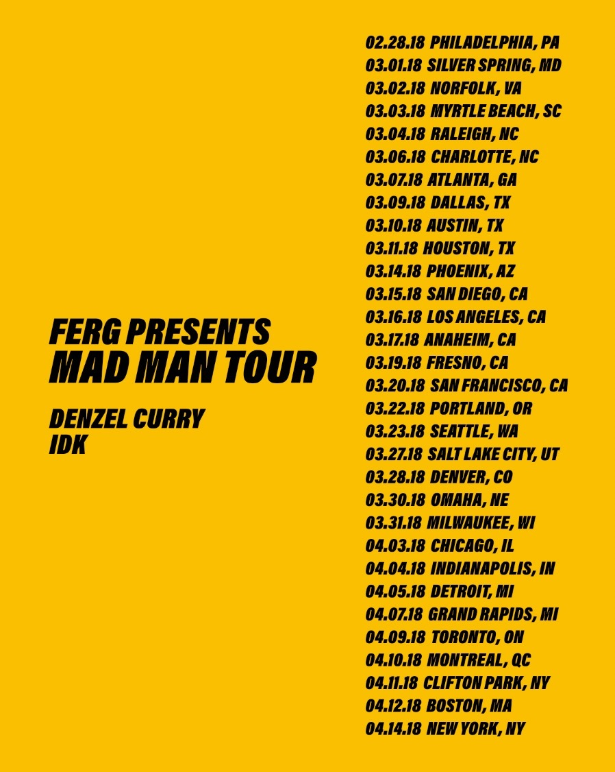 ".idk. Joins ""Mad Man Tour"" with A$AP Ferg & Denzel Curry in 2018!"