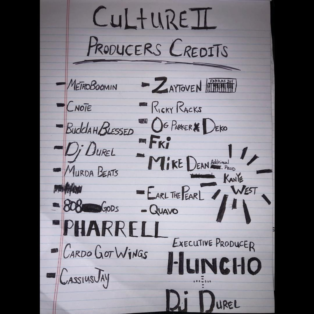 """Migos Reveal Production Credits for """"CULTURE II"""" Album"""